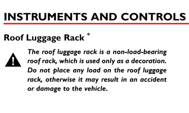 Excerpt from MG5 EV manual warnign people not to use roof rack