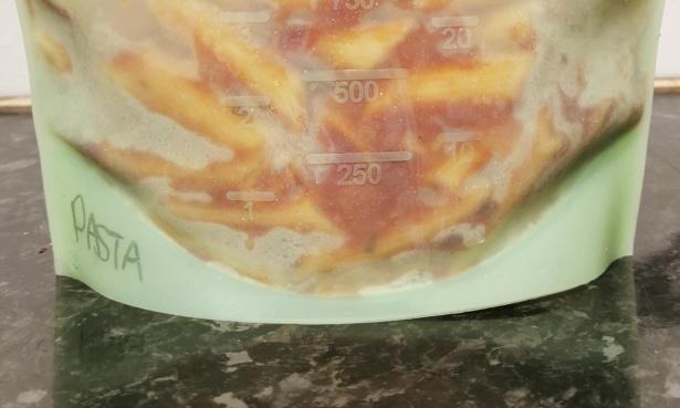 Rigid bottom of a premium reusable freezer bag.