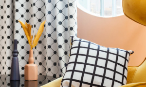 black and white curtains and cushion