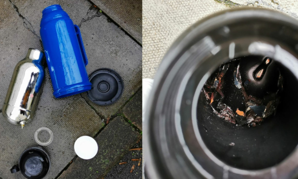 Two broken vacuum flasks from Which? test