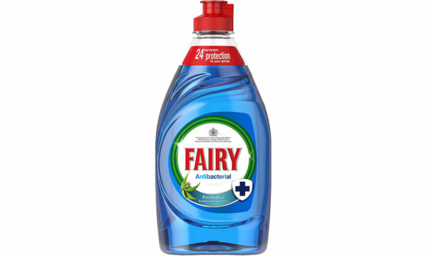 Blue antibacterial Fairy washing-up liquid
