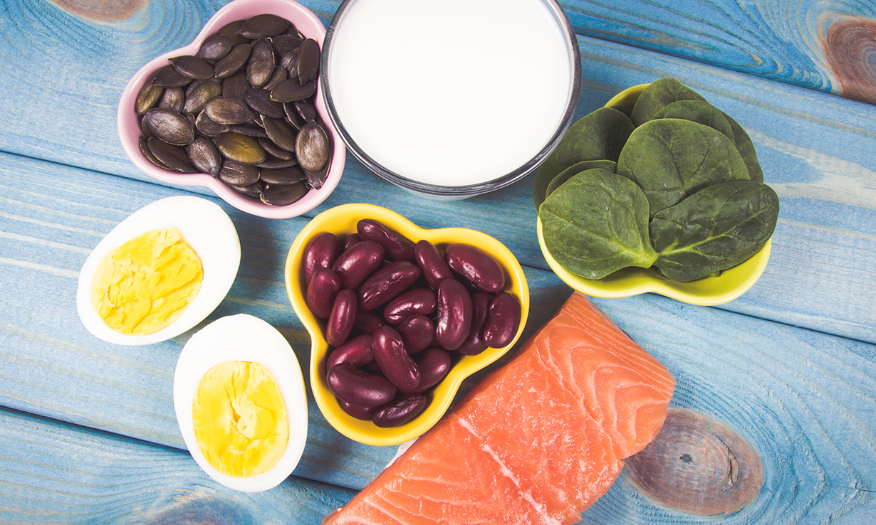 Foods that contain vitamin D include oily fish such as salmon, eggs and fortified yoghurt.