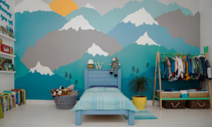 bedroom with a wall mural of mountains