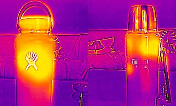 Thermal image comparison of the Hydro Flask and a cheaper flask.