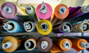 rolls of vinyl wallpaper from above