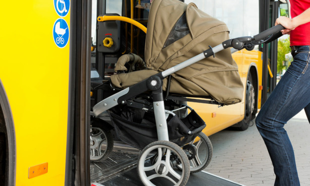 Pushchair being taken on a bus