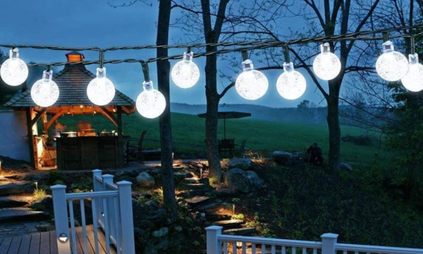 Solar String Lights Garden, 24 Ft 30 Waterproof Crystal Ball LED Fairy Lights Outdoor Solar Powered Lights.