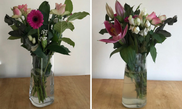 Arena Flowers bouquet on arrival and after seven days.