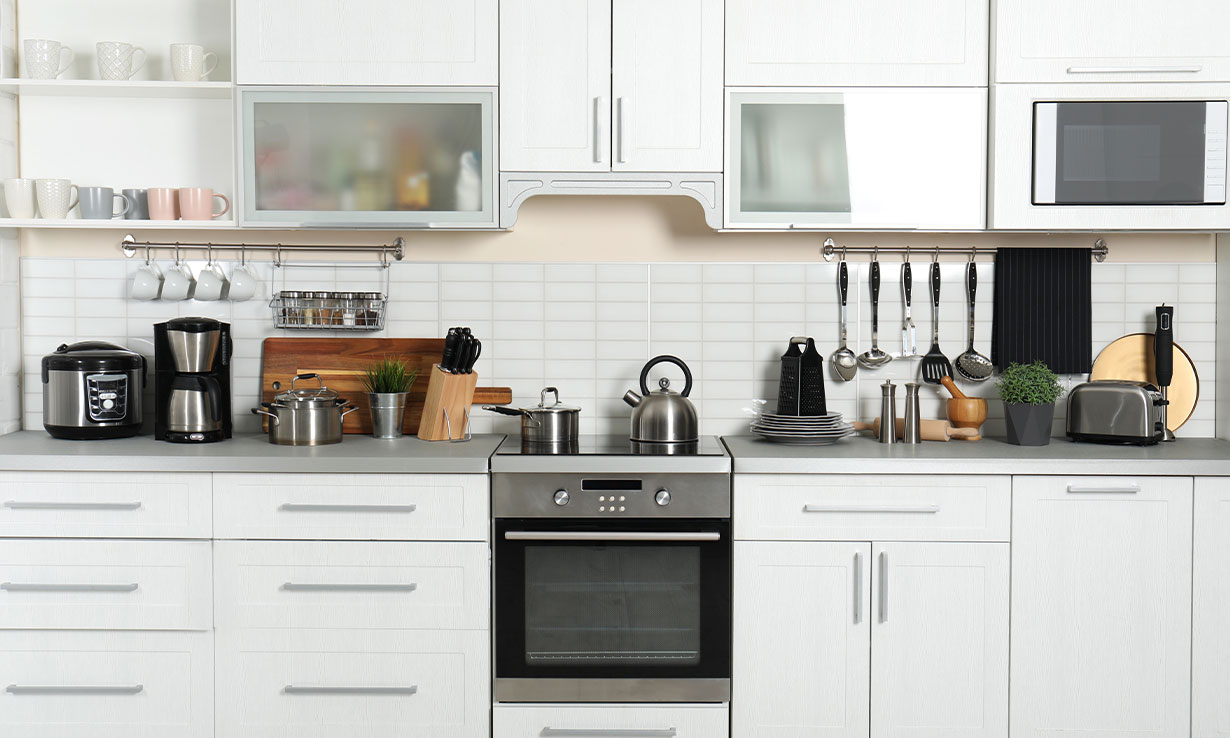 A full kitchen counter