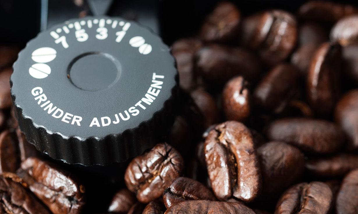 Coffee grinder grind size dial