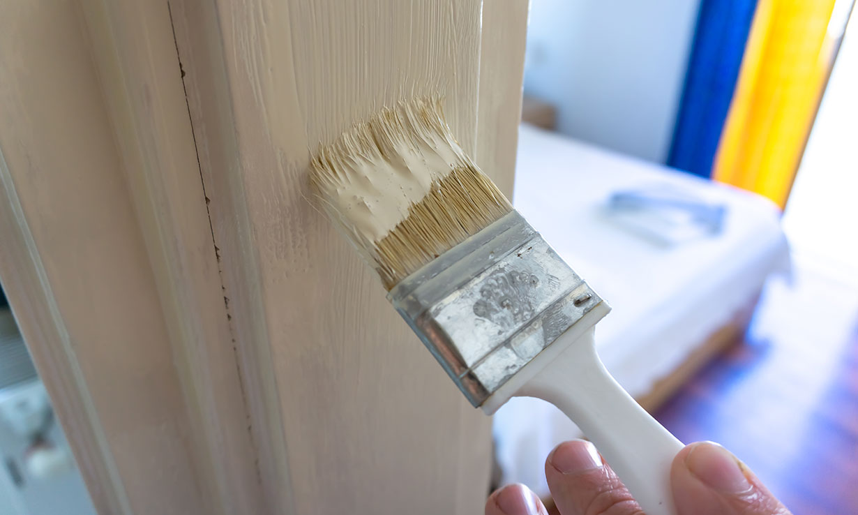 Painting a door frame