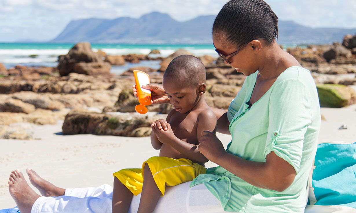Applying sun screen to infants and children is vital when the sun could be strong enough to cause sun damage and sunburn.