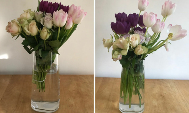Waitrose bouquet on arrival and after a seven days.