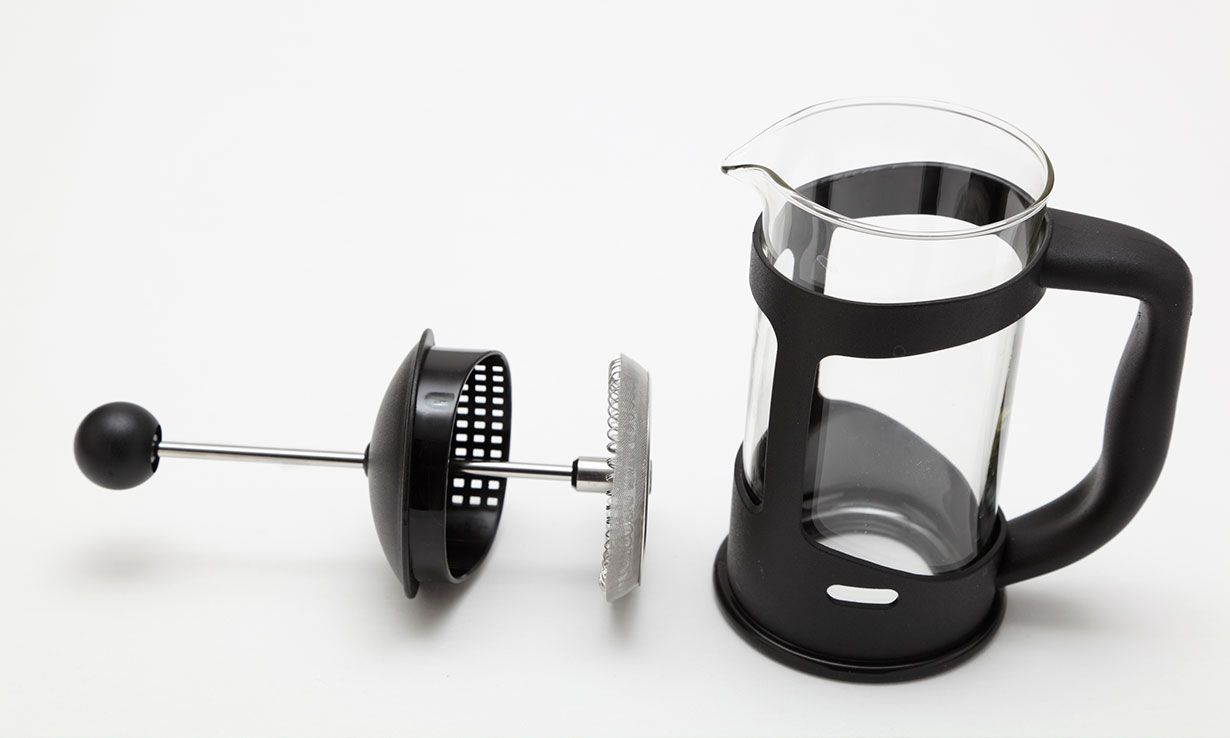 Empty cafetiere with press