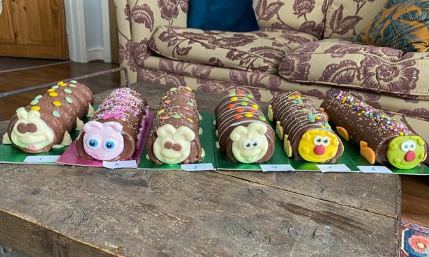 six caterpillar cakes