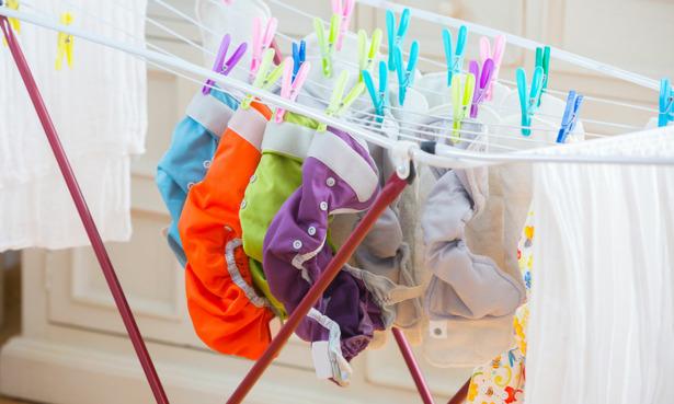 Reusable nappies on washing line