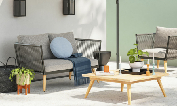 A garden kitted out with Wayfair's Hykkon range