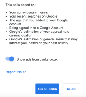 Google's advert reporting options