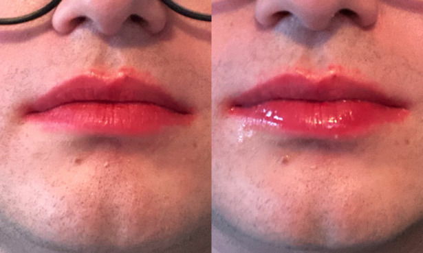Tester wearing the Chanel lipstick before and after the pasta test.