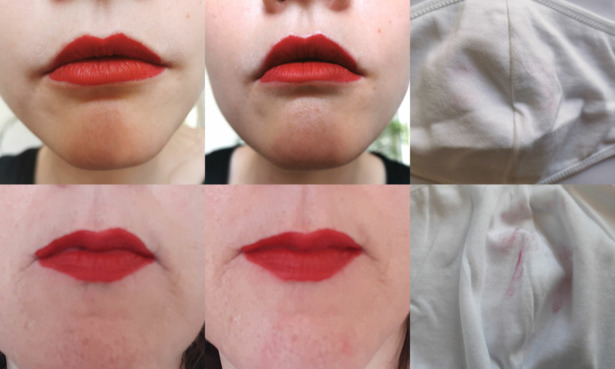 Testers wearing the Fenty lipstick before and after the mask test.