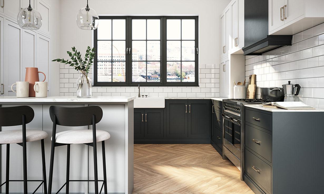 L-shaped kitchen dark grey units and a breakfast bar