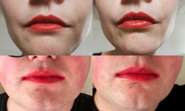 Testers wearing the L'Oreal lipstick before and after the pasta test.