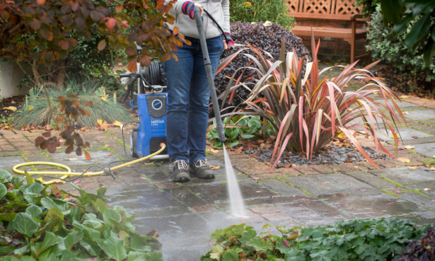Pressure washing the patio